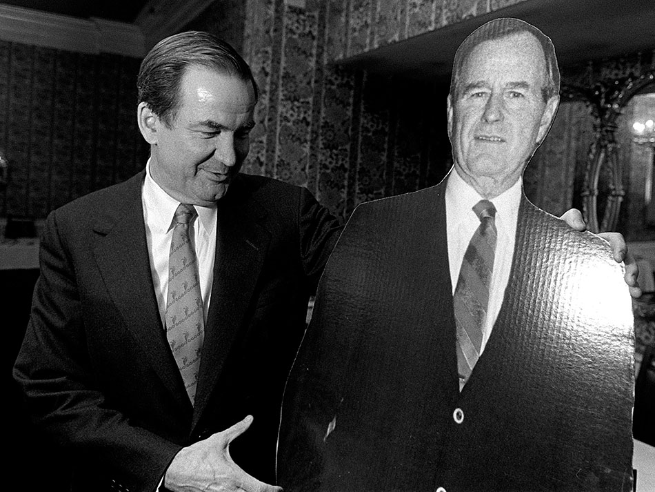 Pat Buchanan and a cardboard George Bush